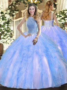 Elegant Baby Blue Sleeveless Beading and Ruffles Floor Length Sweet 16 Quinceanera Dress