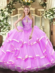 New Style Lilac Lace Up Quinceanera Gown Beading Sleeveless Floor Length