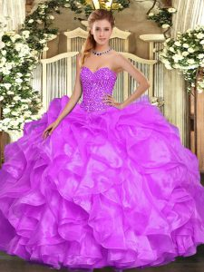 Floor Length Lace Up 15 Quinceanera Dress Lilac for Military Ball and Sweet 16 and Quinceanera with Beading and Ruffles