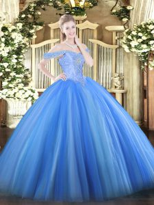 Sophisticated Sleeveless Tulle Floor Length Lace Up Quince Ball Gowns in Baby Blue with Beading