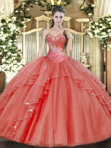 Chic Floor Length Coral Red Quince Ball Gowns Sweetheart Sleeveless Lace Up
