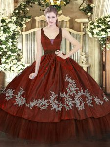 Wine Red Zipper Straps Beading and Embroidery Quinceanera Gown Organza and Taffeta Sleeveless