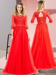 Custom Designed Tulle 3 4 Length Sleeve Floor Length Homecoming Dress and Lace