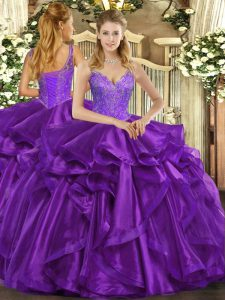 Floor Length Lace Up Quinceanera Dresses Eggplant Purple for Military Ball and Sweet 16 and Quinceanera with Beading and Ruffles