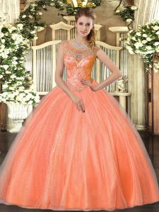 Floor Length Lace Up Sweet 16 Dress Orange Red for Sweet 16 and Quinceanera with Beading
