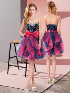 Organza Sleeveless Mini Length Homecoming Dress and Beading and Ruffles and Bowknot