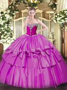 Vintage Ball Gowns Quinceanera Gown Lilac Sweetheart Organza and Taffeta Sleeveless Floor Length Lace Up