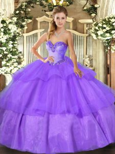 High End Beading and Ruffled Layers 15th Birthday Dress Lavender Lace Up Sleeveless Floor Length
