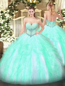 Beading and Ruffles 15 Quinceanera Dress Apple Green Lace Up Sleeveless Floor Length