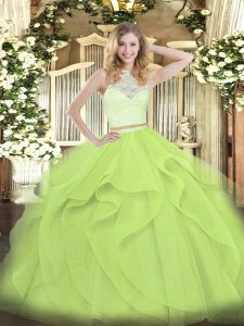 Dazzling Sleeveless Lace and Ruffles Zipper Ball Gown Prom Dress