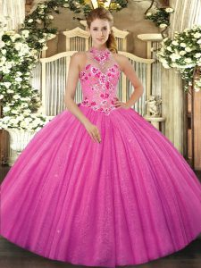Shining Floor Length Ball Gowns Sleeveless Hot Pink 15 Quinceanera Dress Lace Up