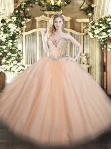 Best Peach Ball Gowns Beading Ball Gown Prom Dress Lace Up Tulle Sleeveless Floor Length