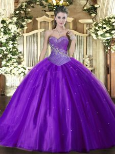 Pretty Floor Length Eggplant Purple Ball Gown Prom Dress Tulle Sleeveless Beading