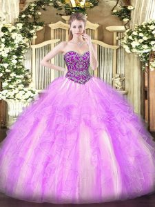 Sleeveless Floor Length Beading and Ruffles Lace Up Ball Gown Prom Dress with Lilac