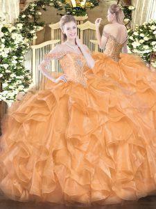 Stunning Ball Gowns Quinceanera Dresses Orange Off The Shoulder Organza Sleeveless Floor Length Lace Up