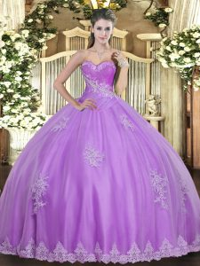 Ideal Lilac Tulle Lace Up Quinceanera Gowns Sleeveless Floor Length Beading and Appliques