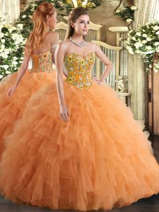 Unique Sleeveless Floor Length Embroidery and Ruffles Lace Up Sweet 16 Dresses with Orange