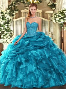 Wonderful Teal Sleeveless Organza Lace Up Quince Ball Gowns for Military Ball and Sweet 16 and Quinceanera