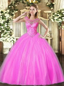 Scoop Sleeveless Quinceanera Gown Floor Length Beading Lilac Tulle