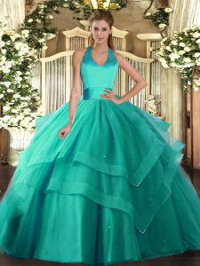 Comfortable Halter Top Sleeveless Quince Ball Gowns Floor Length Ruffled Layers Turquoise Tulle