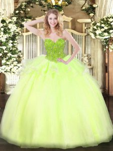 Floor Length Ball Gowns Sleeveless Yellow Green 15th Birthday Dress Lace Up