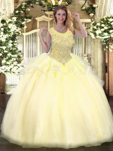Organza Scoop Sleeveless Zipper Beading 15th Birthday Dress in Light Yellow