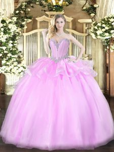 Artistic Lilac Lace Up Quinceanera Dress Beading Sleeveless Floor Length