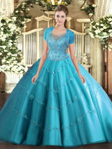 Scoop Sleeveless Tulle Party Dress for Toddlers Beading and Appliques Clasp Handle
