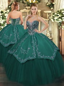Delicate Taffeta and Tulle Sweetheart Sleeveless Lace Up Beading and Embroidery Sweet 16 Dress in Dark Green