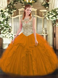 Modern Tulle Sleeveless Floor Length Quince Ball Gowns and Beading and Ruffles