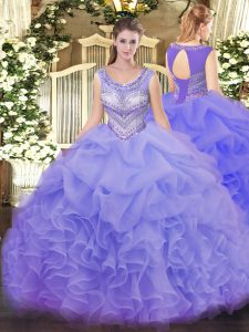 Charming Sleeveless Lace Up Floor Length Beading and Ruffles and Pick Ups Quinceanera Dresses
