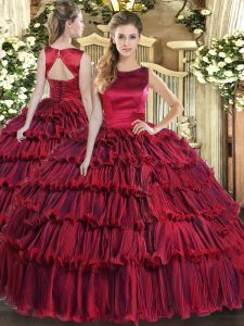Amazing Wine Red Sleeveless Organza Lace Up 15 Quinceanera Dress for Military Ball and Sweet 16 and Quinceanera