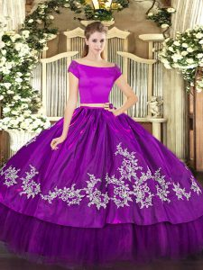 Spectacular Short Sleeves Organza and Taffeta Floor Length Zipper Quince Ball Gowns in Purple with Embroidery