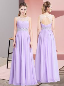 Hot Sale Lavender Prom Dress Prom and Party with Beading Scoop Sleeveless Lace Up