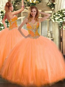 Edgy Orange Ball Gowns Sweetheart Sleeveless Tulle Floor Length Lace Up Beading Quinceanera Gown