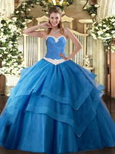 Sweetheart Sleeveless Quinceanera Dress Floor Length Appliques and Ruffled Layers Baby Blue Tulle