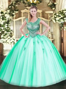 Scoop Sleeveless Quinceanera Gown Floor Length Beading Apple Green Tulle