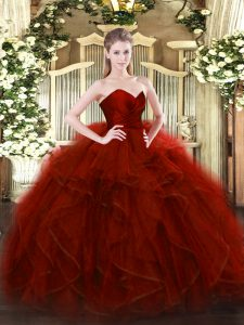 Pretty Floor Length Wine Red Ball Gown Prom Dress Tulle Sleeveless Ruffles