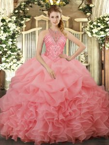 Pretty Watermelon Red Organza Lace Up Sweet 16 Dress Sleeveless Floor Length Beading and Ruffles and Pick Ups