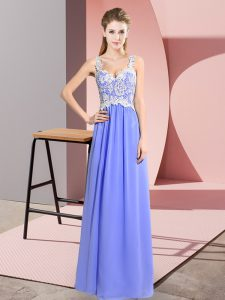 Fine Lavender Sleeveless Chiffon Zipper Prom Party Dress for Prom and Party