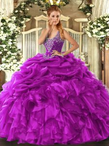 Low Price Floor Length Lace Up Sweet 16 Quinceanera Dress Fuchsia for Military Ball and Sweet 16 and Quinceanera with Beading and Ruffles and Pick Ups