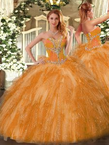 Fine Ball Gowns Quinceanera Gowns Orange Sweetheart Organza Sleeveless Lace Up