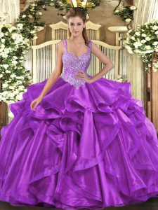Eggplant Purple Straps Neckline Beading and Ruffles Quinceanera Dress Sleeveless Lace Up