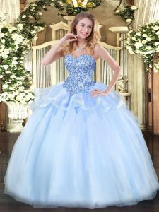 New Arrival Sleeveless Lace Up Floor Length Appliques Quinceanera Gown