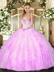 Excellent Lilac Sweetheart Lace Up Beading and Ruffles Ball Gown Prom Dress Sleeveless