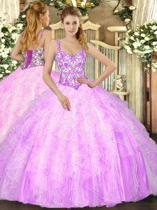 Chic Lilac Straps Neckline Beading and Ruffles Vestidos de Quinceanera Sleeveless Lace Up