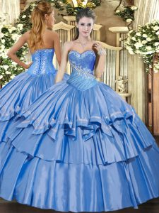 Beauteous Sleeveless Beading and Ruffles Lace Up Ball Gown Prom Dress