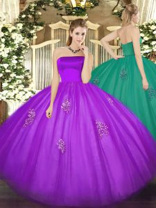 Eggplant Purple Tulle Zipper Quinceanera Gown Sleeveless Floor Length Appliques