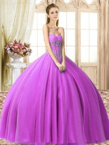Chic Beading Quinceanera Gown Lilac Lace Up Sleeveless Floor Length