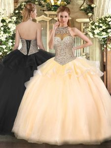 Halter Top Sleeveless Quince Ball Gowns Floor Length Beading Peach Tulle